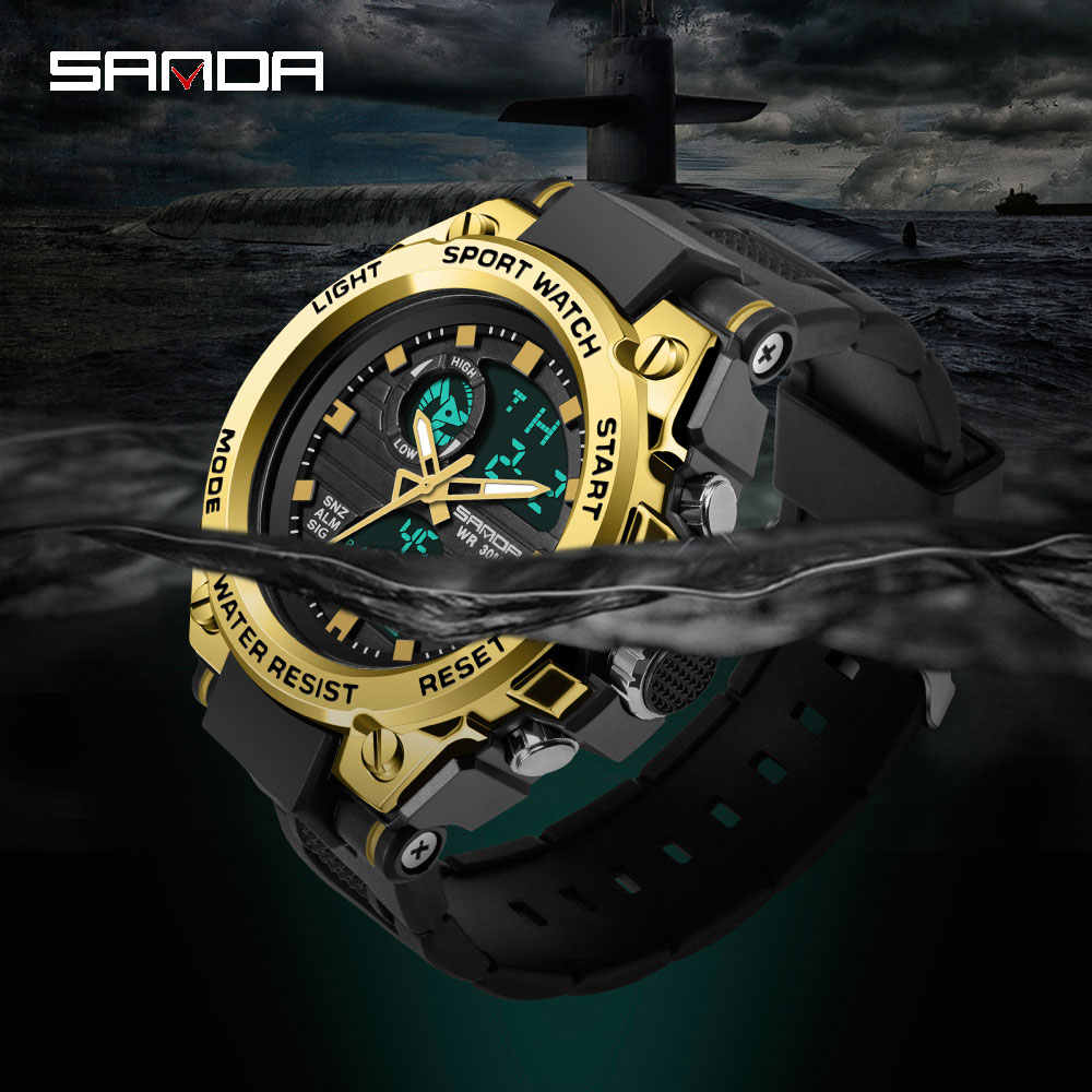 ساعات SANDA الرياضية الرجالية 739 طراز G ساعة رقمية بنمط عسكري S شوك للياقة البدنية ساعات رجالية كوارتز مزدوجة العرض Montre Homme 2019