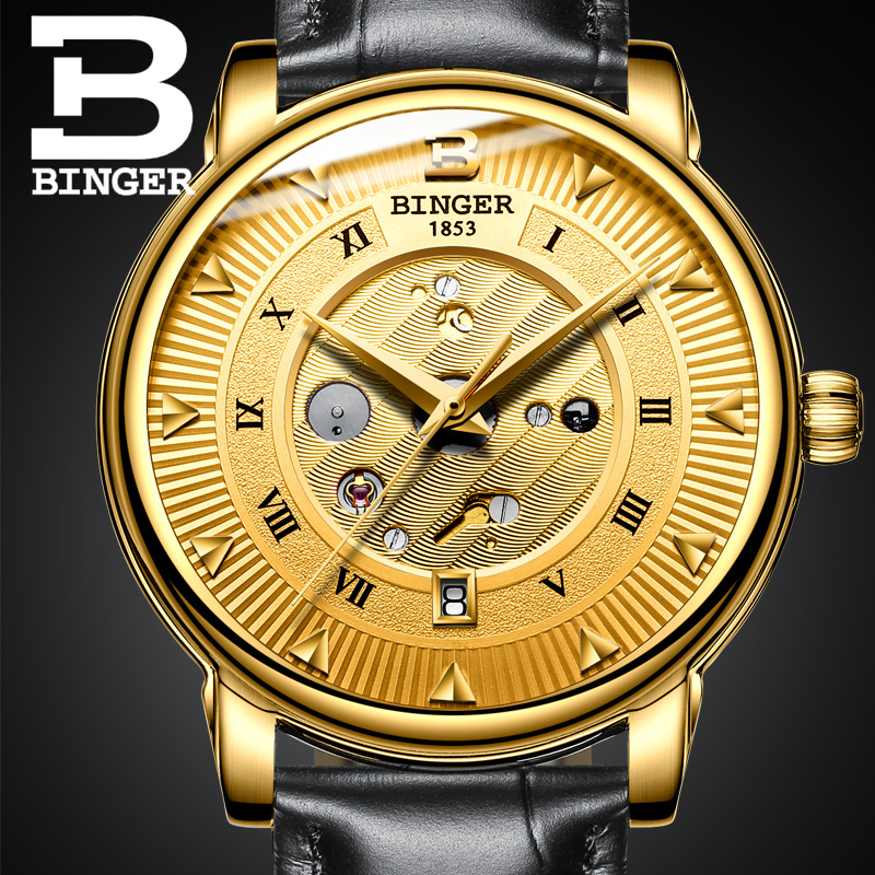 Switzerland Luxury Watch BINGER Brand Automatic Watches Gold Gift Wristwatch Black Leather Strap 3ATM Water Resistant
