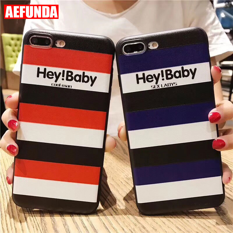 Fashion Relief Stripe Baby Lovers TPU Phone <font><b>Case</b></font> For <font><b>iPhone</b></font> <font><b>7</b></font> 6 6S 8 <font><b>Plus</b></font> X 5 S 5S SE Cool Man <font><b>Sex</b></font> Ladys Couples Silicone Cover image