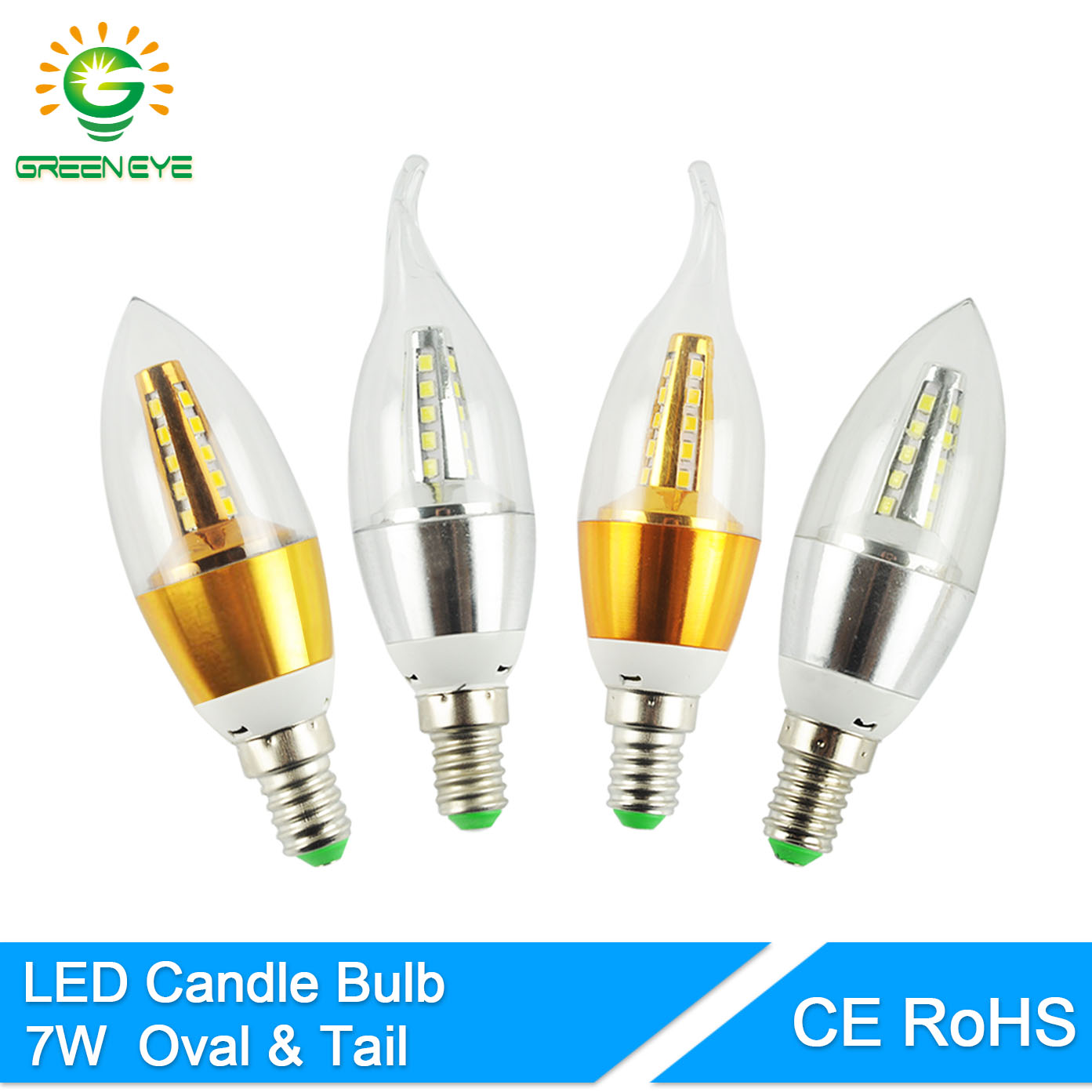 GreenEye High Bright Velas Lampara Led E14 Candle LED Bulb 7w LED Light Lamp 220V Golden Silver Cool Warm White Ampoule 9w 12w