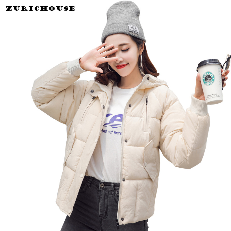Winter Down Jacket Women Loose Casual Hooded Coat Female Outwear 2019 New Arrival Solid Color Womens Cotton Padded   Parka