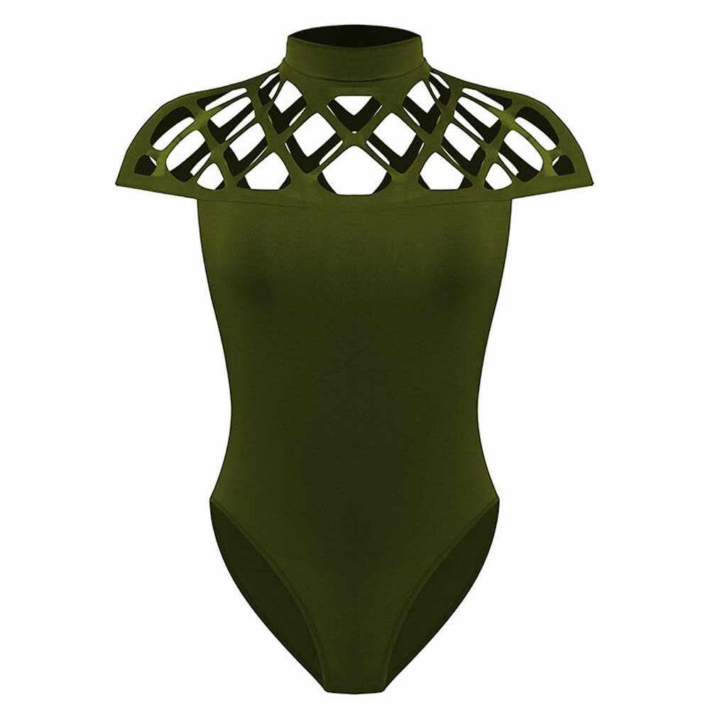 #40 סקסי אישה Bodys חלול החוצה גבוהה קולר צוואר Bodycon בכלוב שרוולים סרבל אלגנטי חג בגד גוף קיץ חוף גוף mujer