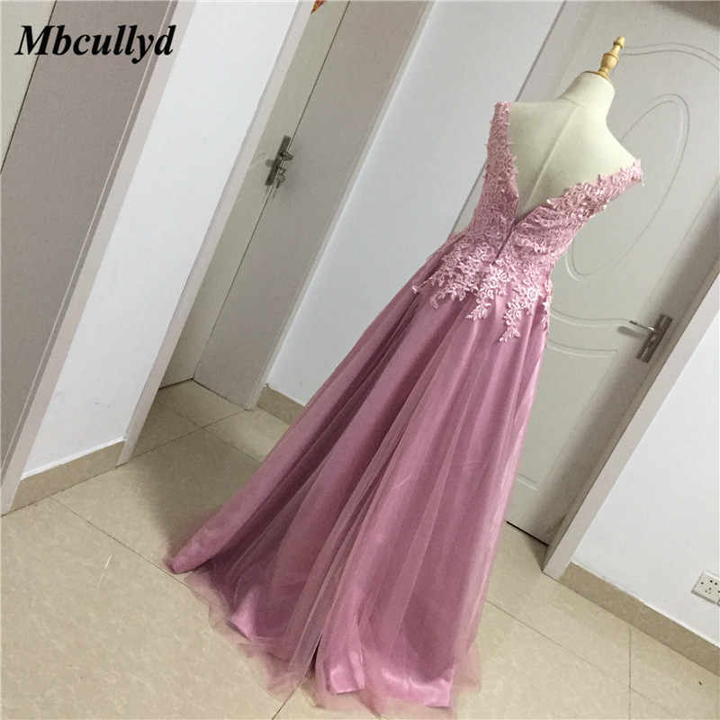 695bf184a0 Mbcullyd Long Floor Length Wedding Guest Dresses 2018 Applique Lace Dark  Pink Bridesmaid Dress Sexy Backless Dress for Wedding