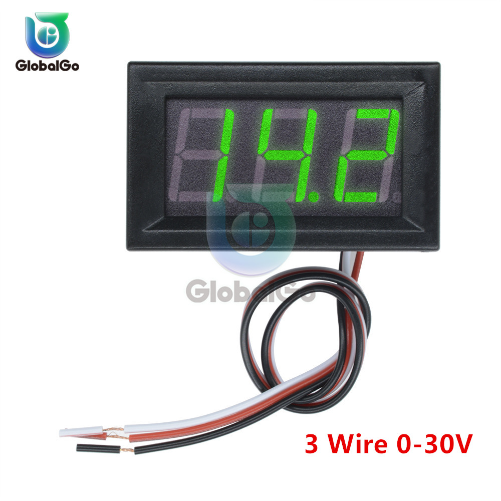 0.56 Inch 3 Wire Digital Voltmeter DC 0-30V Digital Voltmeter Voltage Panel Meter Red/Blue/Green For Electromobile Motorcycle