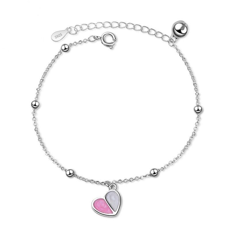 Fashion Bracelet Solid 925 Sterling Silver Jewelry Female Cute Korea Style Heart Design Chain Link Bracelet for Classmate Girls stylish solid heart thick bracelet
