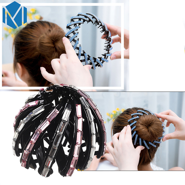 MISM 2017 New Rhinestone Hair Accessories Women Donut Bun Hairstyles ...