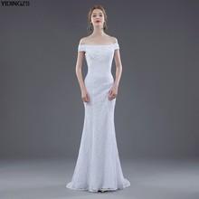2051dad0783 Yidingzs Лидер продаж пикантные Кружево Свадебные платья Элегантный Русалка  с плеча аппликации из бисера белого цвета