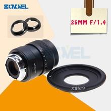 25 мм F1.4 Объективы для систем видеонаблюдения киносъемок + C крепление для sony E крепление Nex-5T Nex-3N Nex-6 Nex-7 Nex-5R A6300 A6100 A6000 A5100 A5000 A6500 A3100