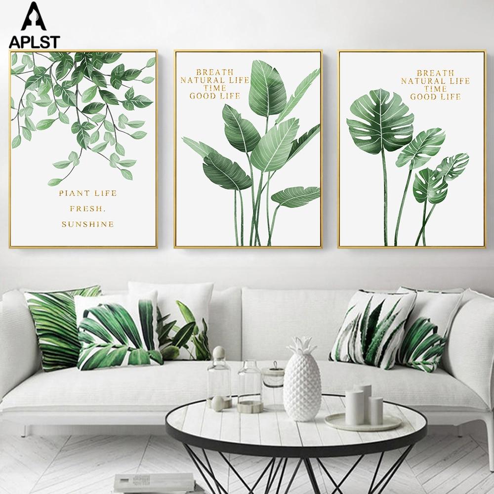 Nordic Style Giraffe Leaf Canvas Poster Art Print Modern Home Decoration