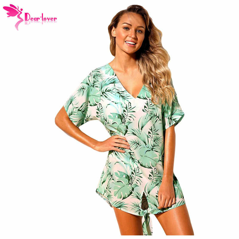 59c1b75c64 ... Dear Lover Summer Beach Dresses 2018 Boho Chiffon Tie The Knot Palm  Tree Short Sleeve Loose ...
