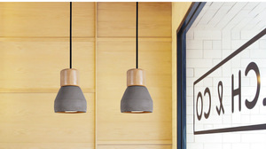 Image 2 - Country Style cement Led Pendant Light 120cm wire E27 Socket Droplight wood indoor Decoration kitchen Hanging Lamp ZDD0023