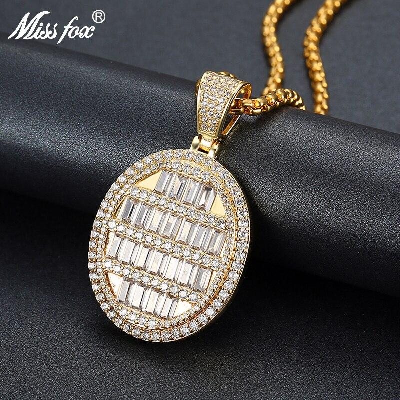 Missfox personnalisé collier pendentif rond en pierres précieuses doré Zircon Micro-incrusté Cool hommes collier 2019 cadeau pour homme