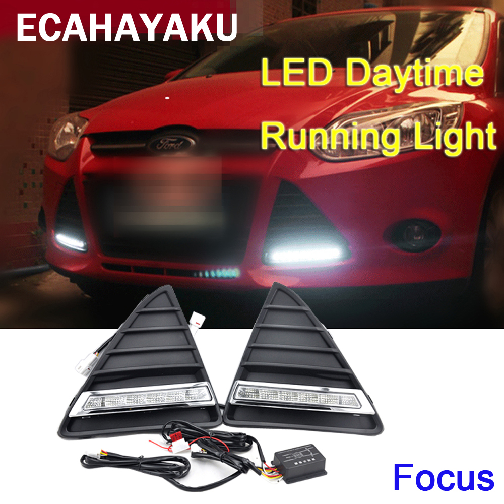 ECAHAYAKU 2PCs/set Car styling AUTO LED DRL Daylight Car Daytime Running lights for Ford Focus 3 2012 2013 2014 Fog Lamp Frame car led drl daylight daytime running lights car styling car fog lamps cover driving light for ford focus mk3 hatchback 2009 2013