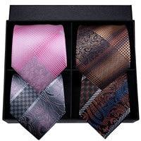 Hi Tie Silk Tie Set 2019 Fashion Men's Wedding Business Gift Tie Pink Blue Suit Necktie Pocket Square Cufflinks Set 8.5cm