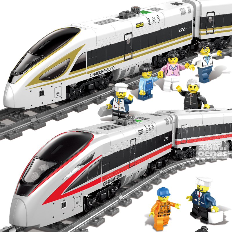 647+PCS Battery Powered Electric Assemble High-Speed City Train DIY Building Block bricks fit legoIN kids toys children gift