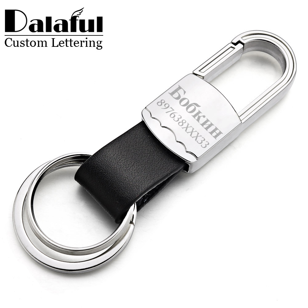 Custom Lettering Keyring Keychain Leather Men's Key Chains Holder For Car Engrave Name Customized Logo Personalized Gift K373