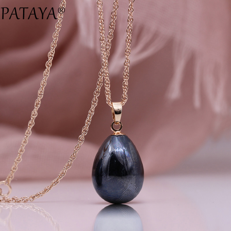 HTB1DYL1OXzqK1RjSZFCq6zbxVXaZ - PATAYA New 328 Anniversary Water Drop Long Necklace Women Fashion Jewelry 585 Rose Gold Wedding Fine Cute Shell Pearls Pendants
