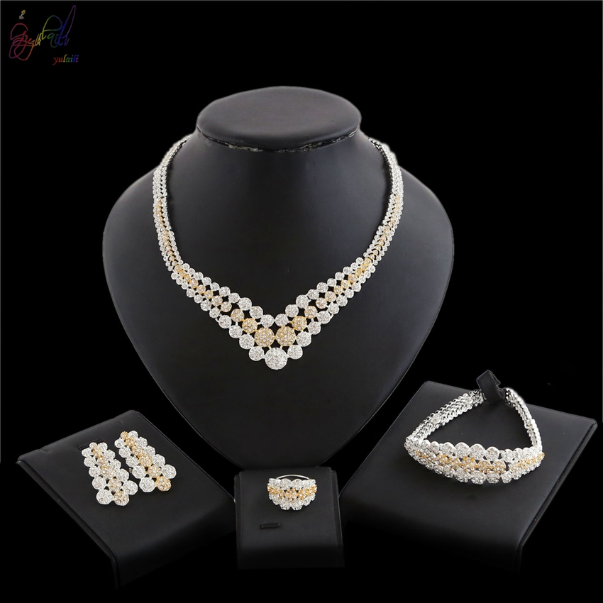 YULAILI African Wedding Jewelry Dubai Gold Color Jewelry Sets Romantic Design Necklace Bangle Earrings Ring Set