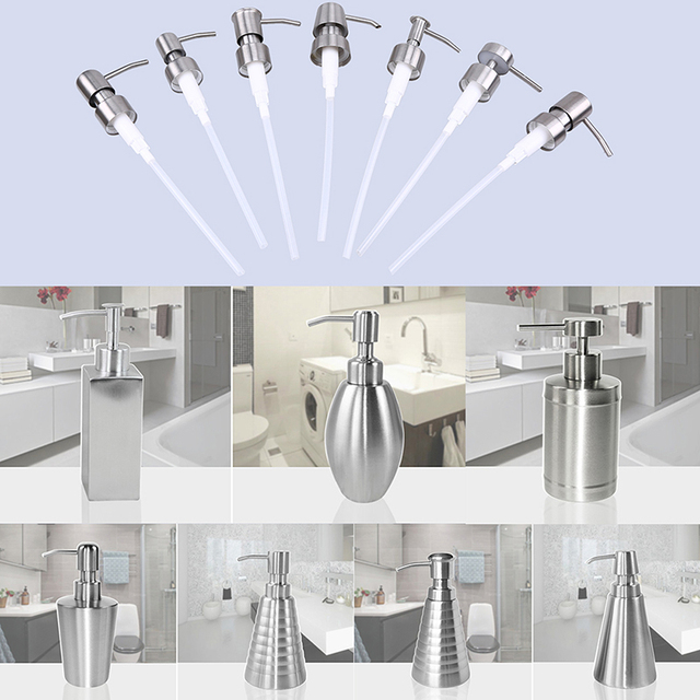WHISM Stainless Steel Kitchen Soap Dispenser Pump Bathroom Liquid Soap Dispenser for Detergent Lotion Shampoo Bottle Replacement 1
