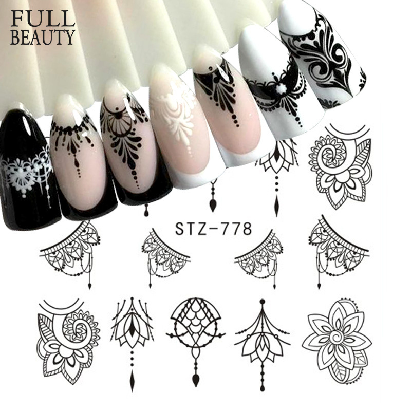 Full Beauty 1 Sheet Jewelry Nail Sticker Black Floral Decals Manicure Water Transfer Slider Foil Design Decorations CHSTZ766-778