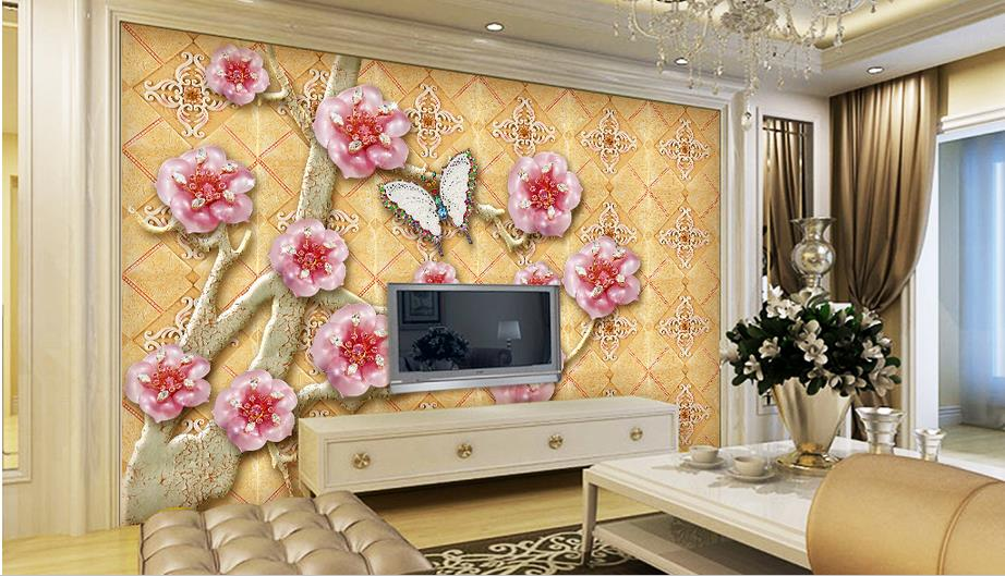 Large custom 3d wallpaper living room bedroom TV wall mural wallpaper non-woven fabric modern wallpaper Peach blossom background non woven bubble butterfly wallpaper design modern pastoral flock 3d circle wall paper for living room background walls 10m roll