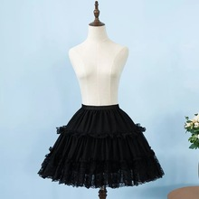 2019 Women Chiffon Black Petticoat Rockabilly Crinoline Lace Appliqued Short Lolita