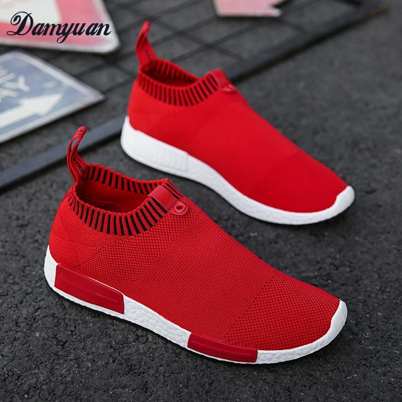 75545be3a27b Casual Femmes Mode Légères Confortable Damyuan Cuir 2019 en blanc Noir  Classique Nouveau Breathabl Flyweather Hommes rouge Chaussures ...