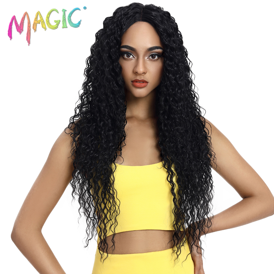 Cabelo mágico peruca dianteira do laço sintético longo ondulado cabelo 32 Polegada perucas louras para preto feminino ombre cabelo sintético perucas da parte dianteira do laço