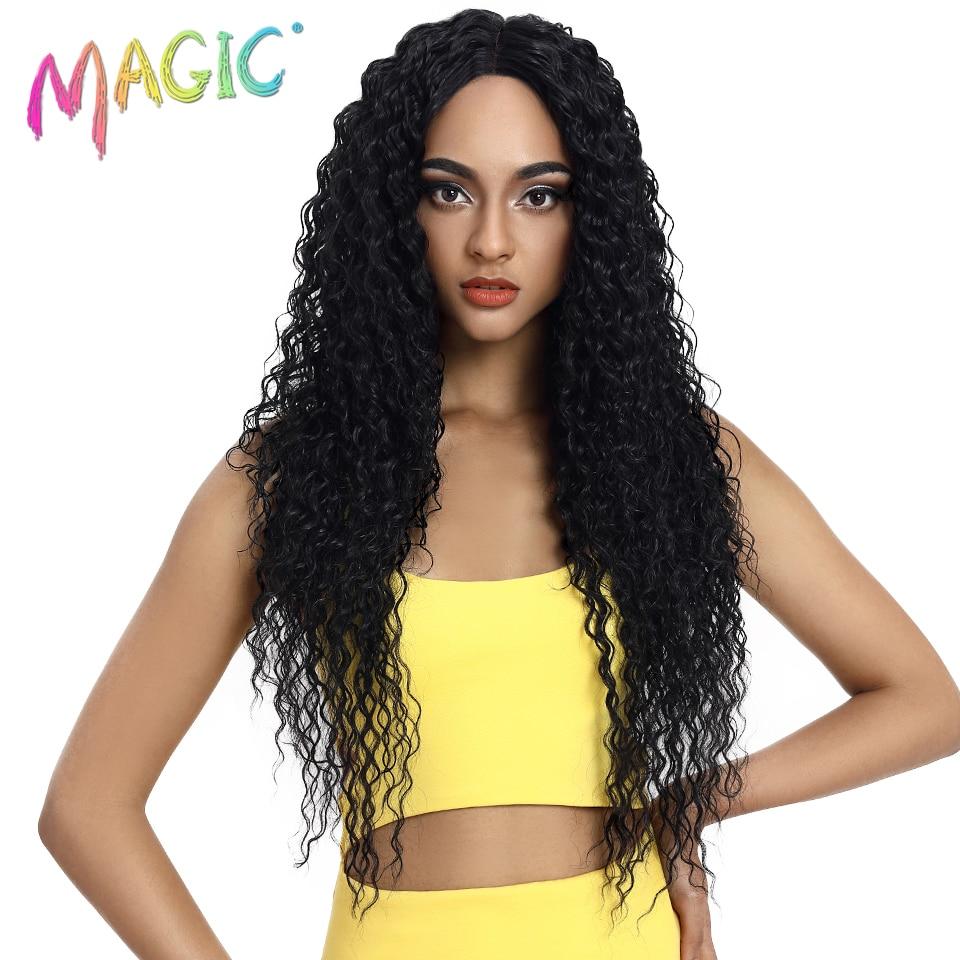 MAGIE Haar Synthetische Spitze Front Perücke Lange Wellenförmige Haar 32 Zoll Blonde Perücken Für Schwarze Frauen Ombre Haar Synthetische Spitze vordere Perücken