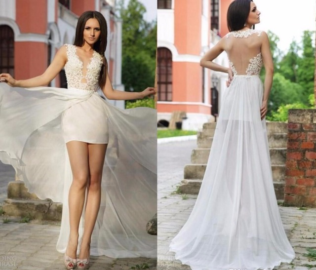 f623048ee15 New Short Beach Wedding Dresses Sexy Back Lace Sheer Jewel Neck Over Skirt  Illusion Bodice High Low White Chiffon Cheap Bridal