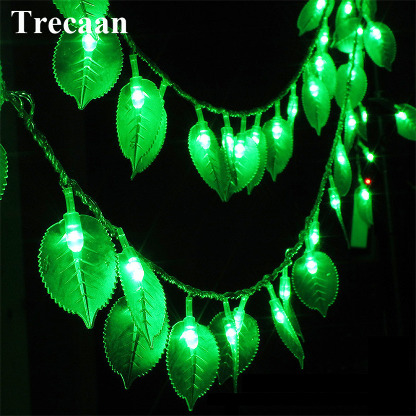 Trecaan 10M 100Led string light Green leaves 220V holiday Outdoor decorative lighting 8 modes EU plug Waterproof