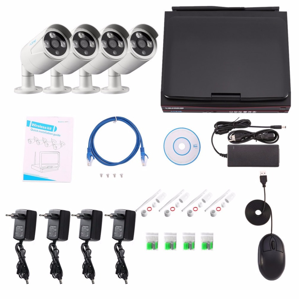 4CH 720P Outdoor security camera system wireless ip camera set NRV kit with 10.1 Monitor ...