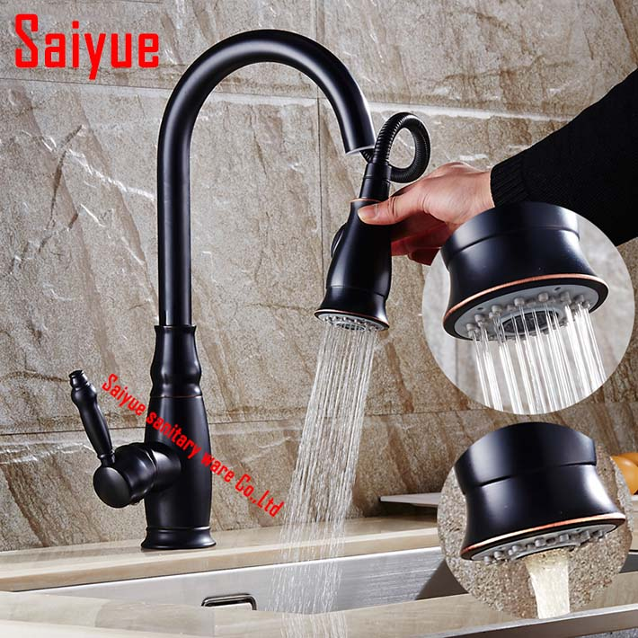 2016 new arrival deck mounted Oil Rubbed Bronze Kitchen Sink Faucet Pull Out Spout  Mixer water tap 360 degree swivel2016 new arrival deck mounted Oil Rubbed Bronze Kitchen Sink Faucet Pull Out Spout  Mixer water tap 360 degree swivel