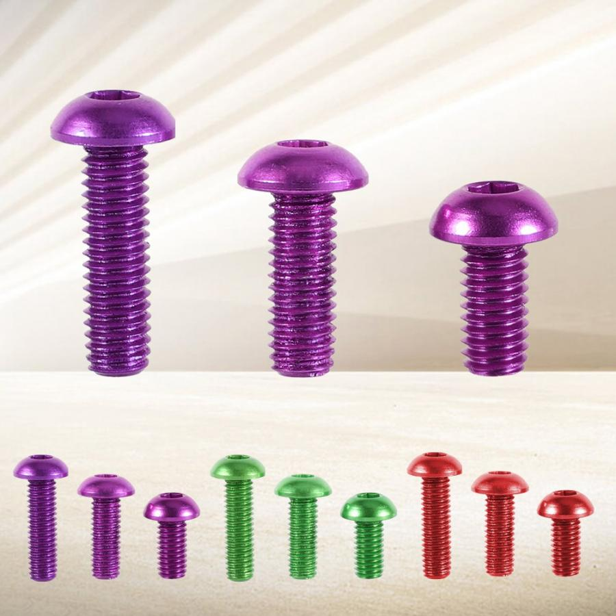 10Pcs/Lot Multicolors <font><b>Screws</b></font> Set <font><b>M3</b></font> 6-<font><b>10mm</b></font> Button Round Head Socket <font><b>Screws</b></font> Aluminum Alloy Metric Hex Socket Cap <font><b>Screw</b></font> Bolt image