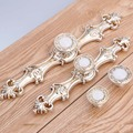 128mm 96mm european retro furniture handles distress antique silver dreser kitchen cabinet door handles white stone drawer knob
