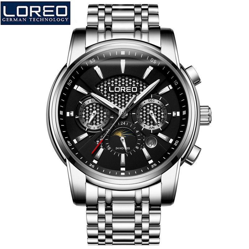 LOREO Mechanical Watch Men Fashion Retro Luminous Waterproof Full Steel Skeleton Automatic Mechanical Watch Reloj Hombre K57 100% new and original g6i d22a ls lg plc input module
