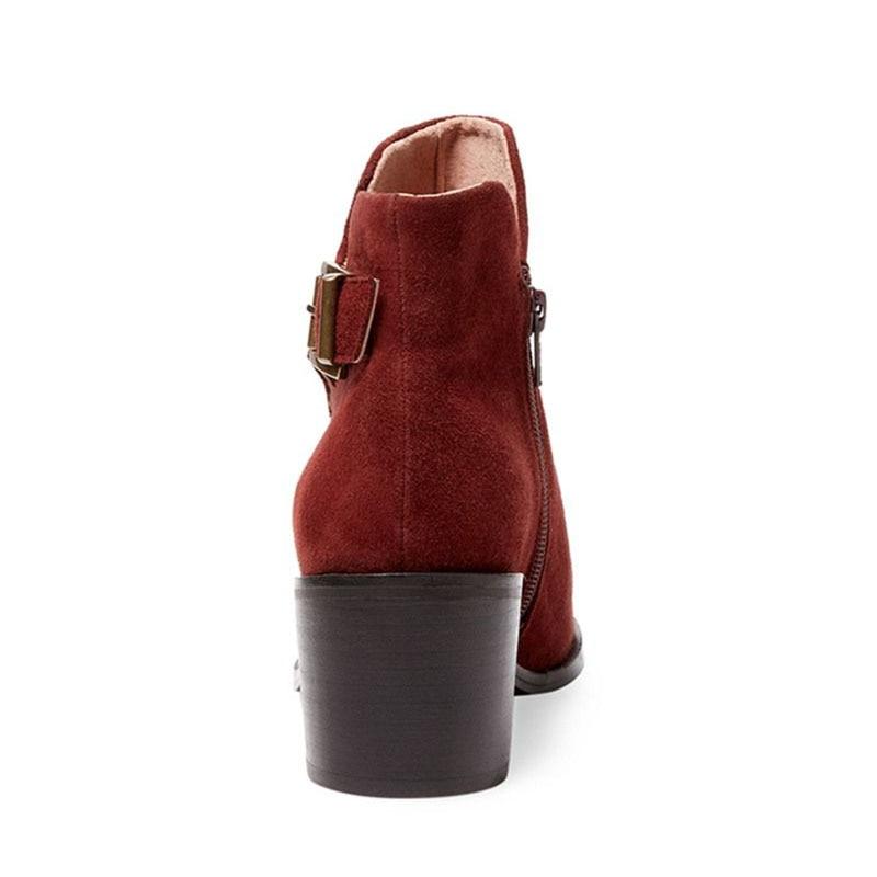 Bottes Chaussures D'âge Mode Carré Adulte 2019 Ty01 Hiver Femmes Rond Boucle Concise Bout Dames Cheville Talon Mûr Nancyjayjii Zipper SqzVUMp