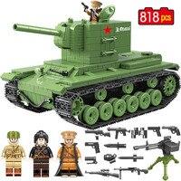 818 штук военный Советская Россия кВ 2 Танк строительные блоки, совместимые с LEGO City WW2 солдат полиции оружие Кирпичи игрушки для мальчиков
