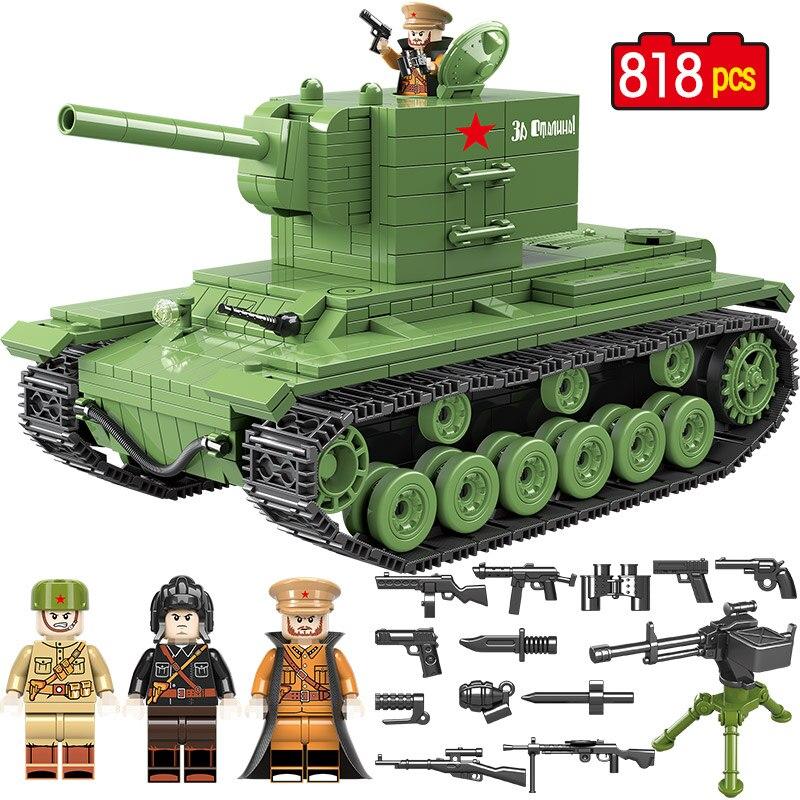 818 pièces militaire soviétique russie KV 2 réservoir blocs de construction Compatible ville Legoed WW2 soldat Police arme briques jouets pour garçons