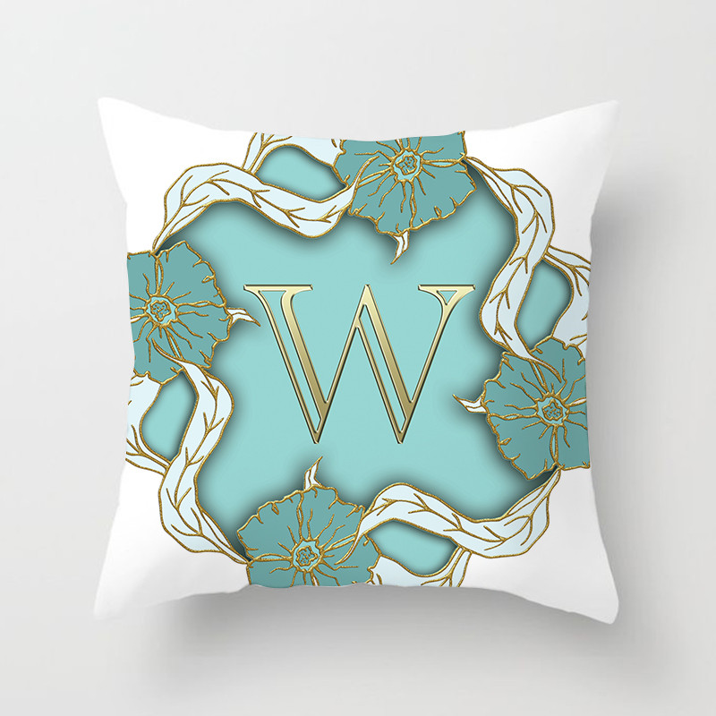 Fuwatacchi A Z Letter Cushion Cover Green Floral Soft Throw Pillow Cover Decorative Sofa Pillow Case Pillowcase in Cushion Cover from Home Garden