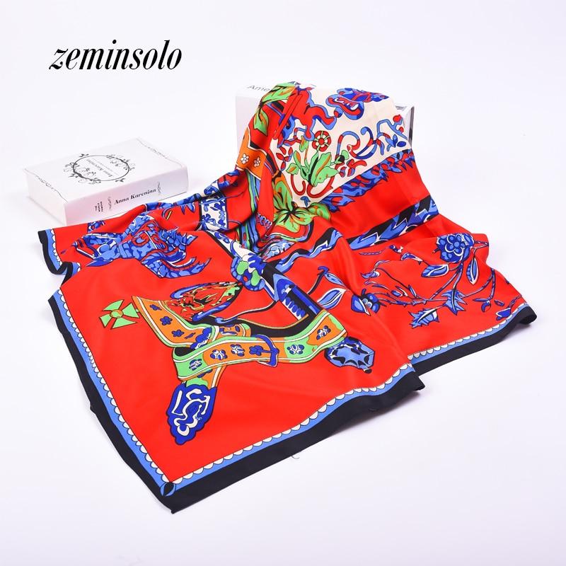 130 * 130 nové příchozí šátky Bandana 2018 luxusní značka ženy saténové hedvábí květinový čtverec hladký šátek ženy pašmírové šály Shawl