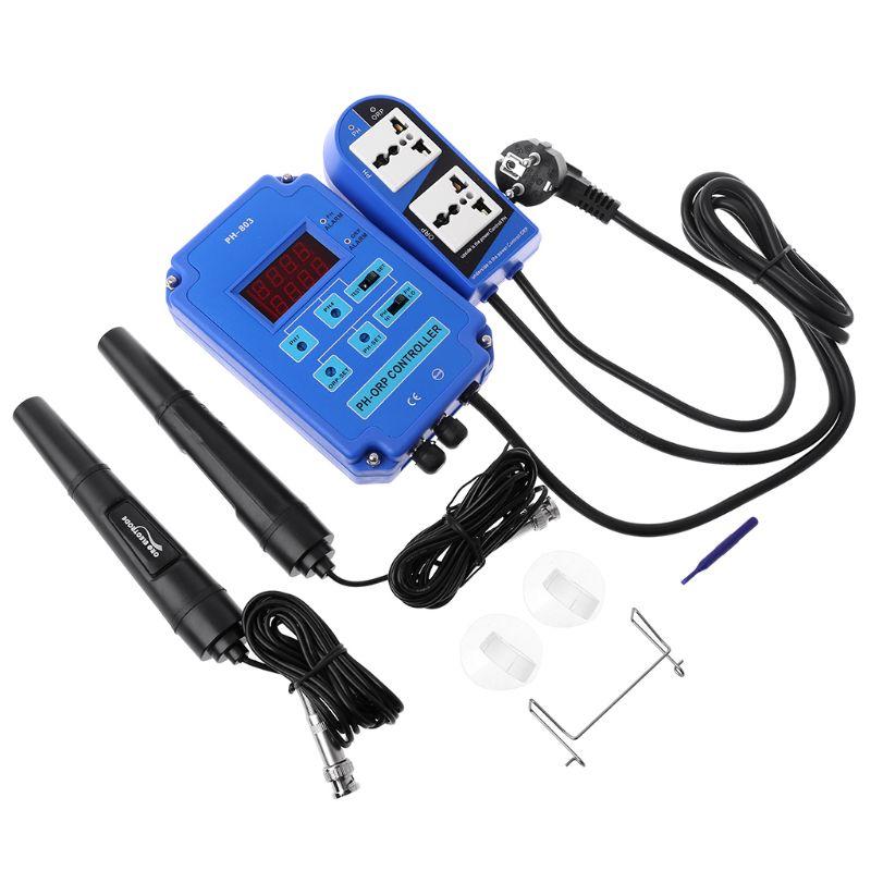 Contrôleur numérique pH ORP Redox 2 en 1 avec relais de puissance de sortie sonde d'électrode de contrôle BNC pour plantes hydroponiques d'aquarium