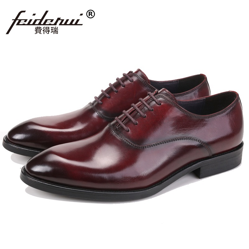 Luxury Man Wedding Dress Office Shoes Fashion Genuine Leather Male Oxfords Round Toe Formal Luxury Brand Men's Flats VK95 2017 fashion italian luxury brand formal mens dress shoes genuine leather wedding shoes crocodile men flats office oxfords shoes