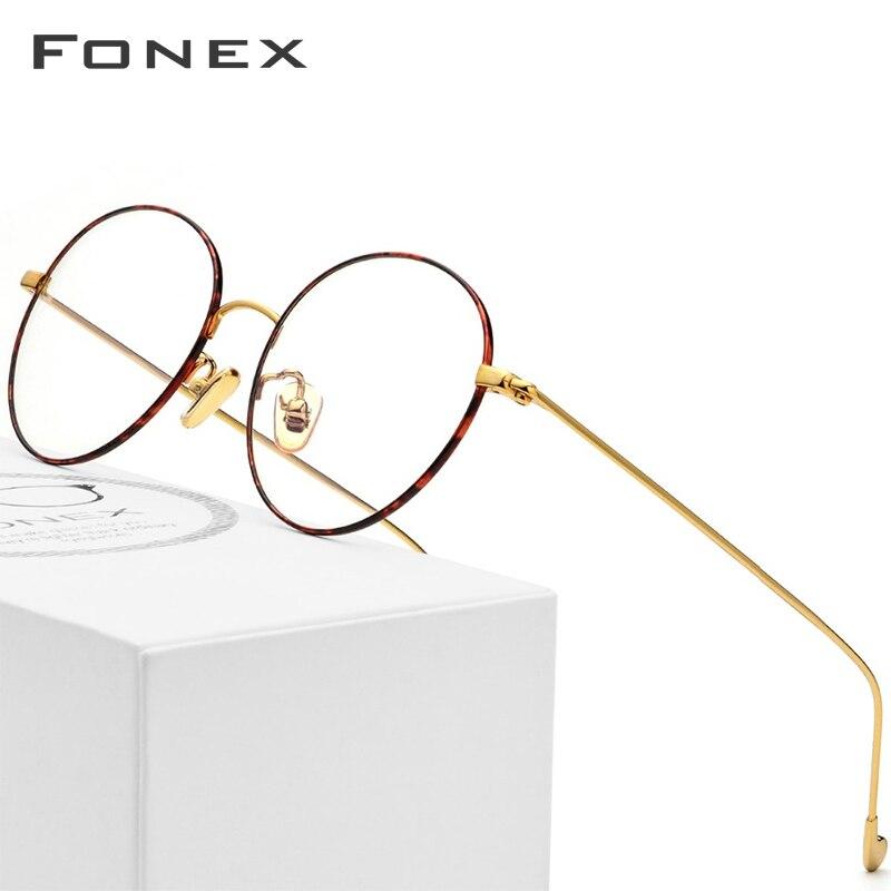 Gafas de titanio puro montura para hombre gafas de prescripción redonda gafas Vintage Retro miopía gafas ópticas gafas de mujer