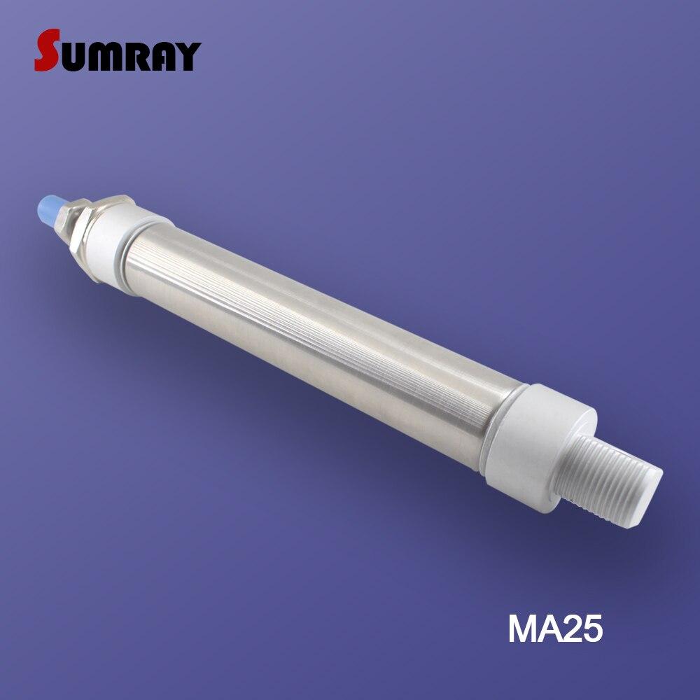 Купить с кэшбэком SUMRAY MA Type Pneumatic Cylinder 25mm Bore 25/50/75/100/125/150/175/200/250/300mm Stroke Double Action Pneumatic Air Cylinder