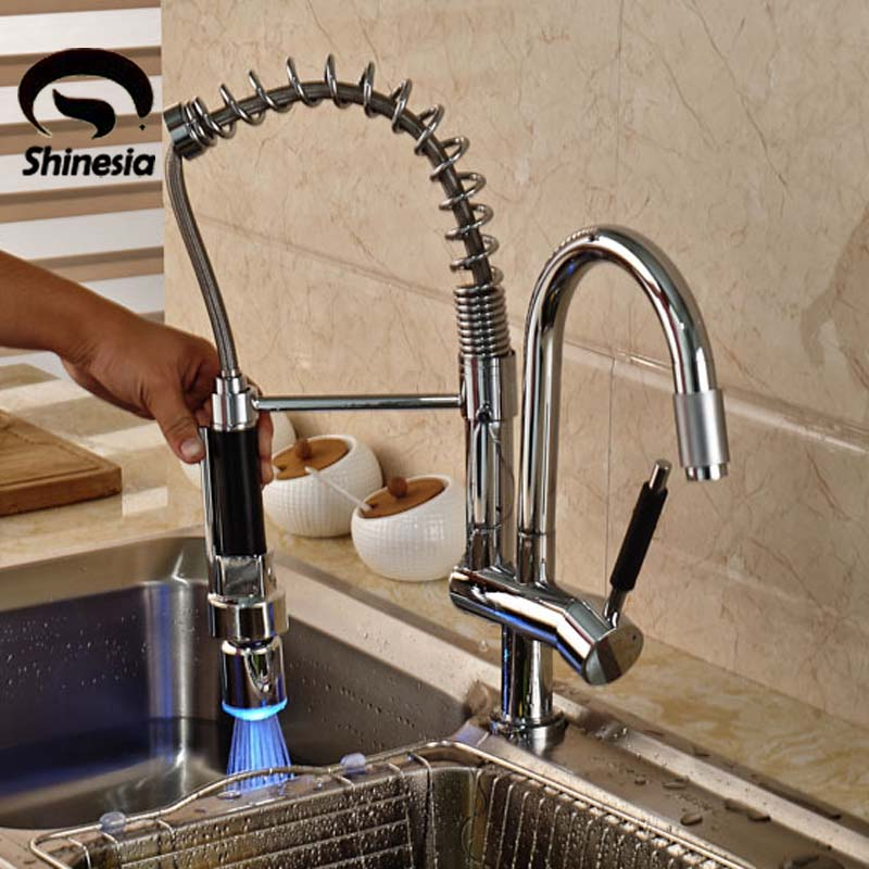 Deck Mounted Chrome Brass Double Spout Kitchen Faucet LED Pull Out Kitchen Sink Mixer Taps chrome kitchen sink faucet solid brass spring two spouts deck mount kitchen mixer tap