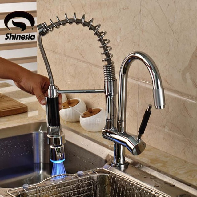 Deck Mounted Chrome Br Double Spout Kitchen Faucet Led Pull Out Sink Mixer Taps
