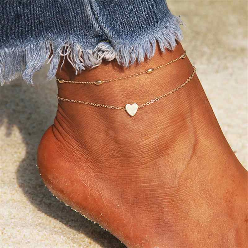 シンプルなハートアンクレット素足かぎ針編みサンダルフットジュエリー脚新アンクレット足足首のブレスレット女性の脚チェーン月 4