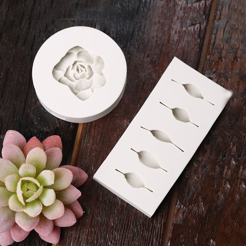 2pcs/set 3d Flowers Succulent Plants Leaves Silicone Mold Fondant Mold Petal Plants Cake Decorating Tool Clay Resin Baking Molds Home & Garden