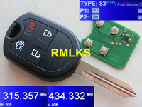 Edge Remote Key With 315 433Mhz Alterable Frequency No Chip FO38R Blade Edge 4 Button 315Mhz